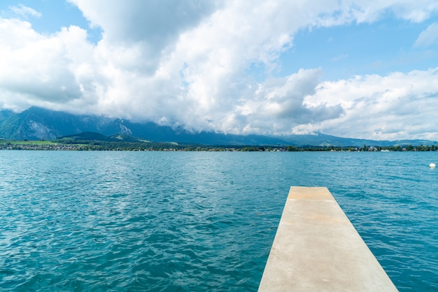 Thun lake with mountain in switzerland