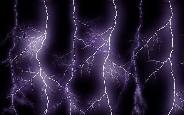 Thunder lightning bolts isolated on black background, abstract electric concept
