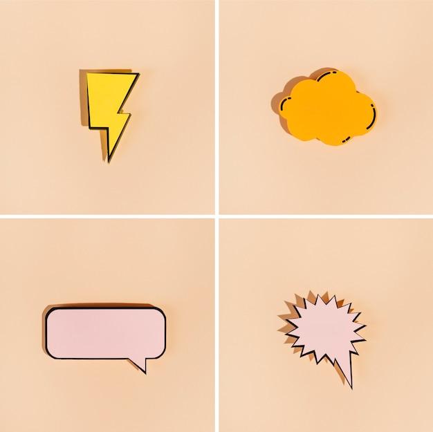 Thunderbolt; cloud; explosion; rectangular speech bubbles on beige background