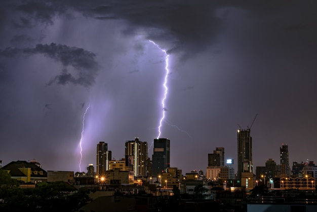 Thunderstorm lightning over city skyline at night in bangkok, asia