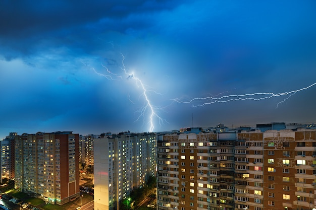 Thunderstorm and lightning over the city
