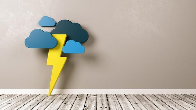 壁に対して木製の床に雷雨の形
