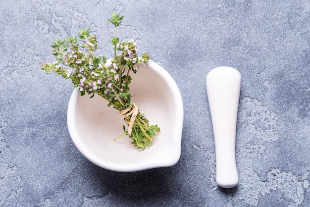Thyme brances with white porcelan mortar