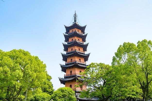 Tianfeng pagoda, a pagoda of ancient chinese architecture, ningbo, zhejiang province, china