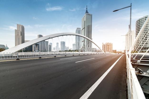 Tianjin downtown cityscape seen from dagu bridge,china.