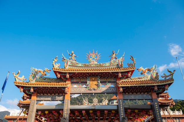 Tianyuan temple with blue sky, the most famous place for tourist  in taiwan