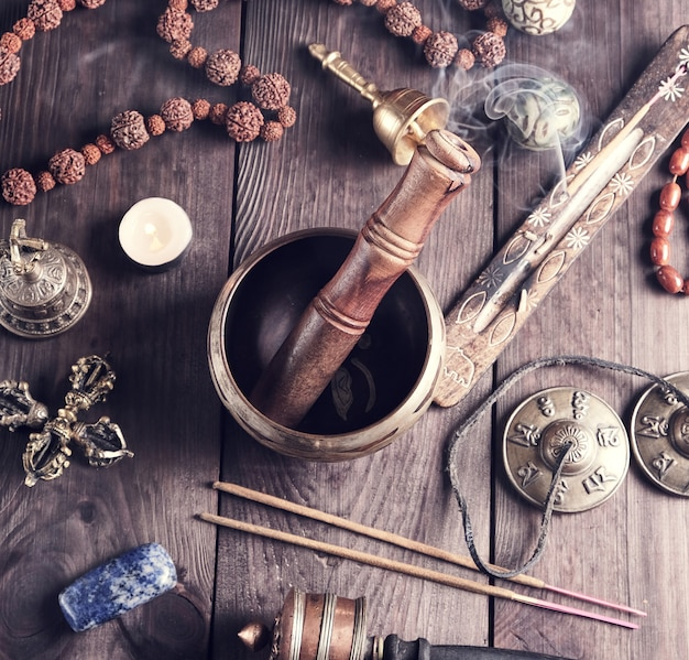 Tibetan religious objects for meditation and alternative medicine