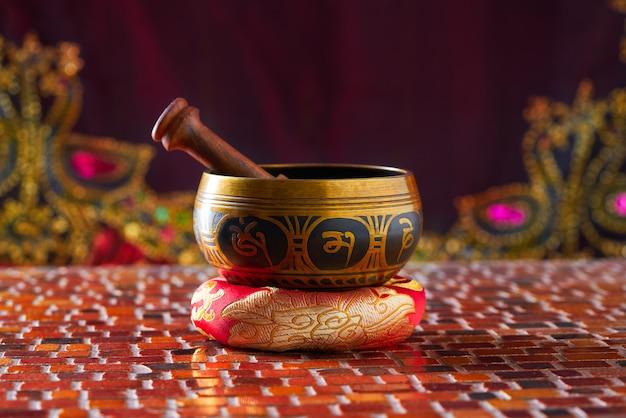 Tibetan singing bowl with stick