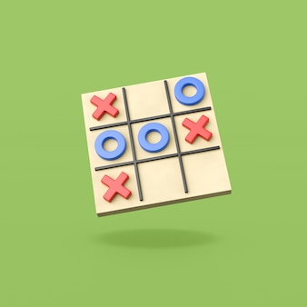 Tic-tac-toe game board on green surface