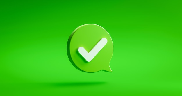 Tick check mark icon button and yes or approved symbol on confirm correct sign checklist background with agreement success box. 3d rendering.