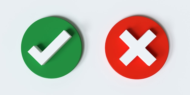 Tick and cross signs green checkmark and red x icons isolated on white background 3d render