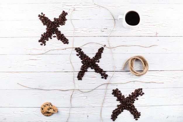 커피 원두, 컵, 쿠키, 계피,