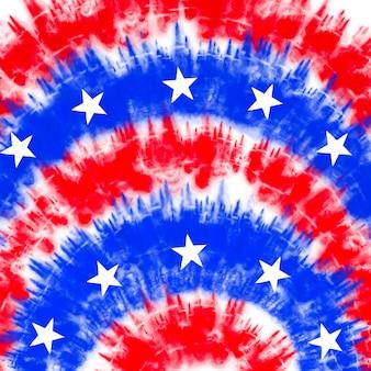 扎染美国国旗背景红色和蓝色抽象迷幻纹理爱国美国pa