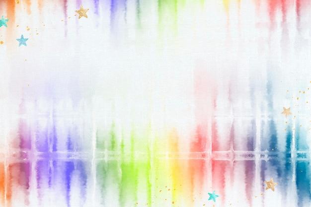 Tie dye sfondo con bordo acquerello arcobaleno