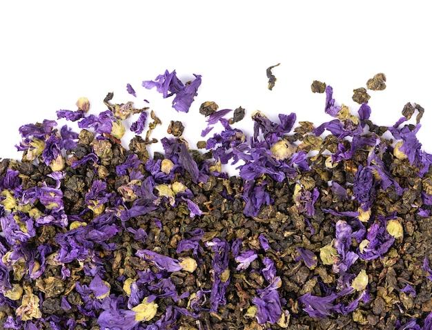 ゼニアオイの花と鉄観音茶
