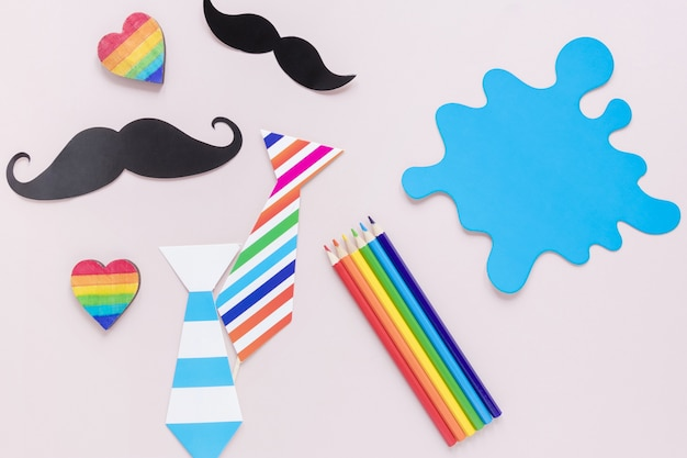Tie with mustaches and crayons