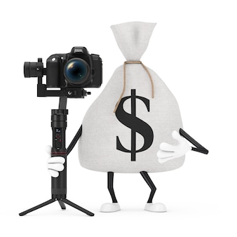 Tied rustic canvas linen money sack or money bag and dollar sign character mascot with dslr or video camera gimbal stabilization tripod system on a white background. 3d rendering