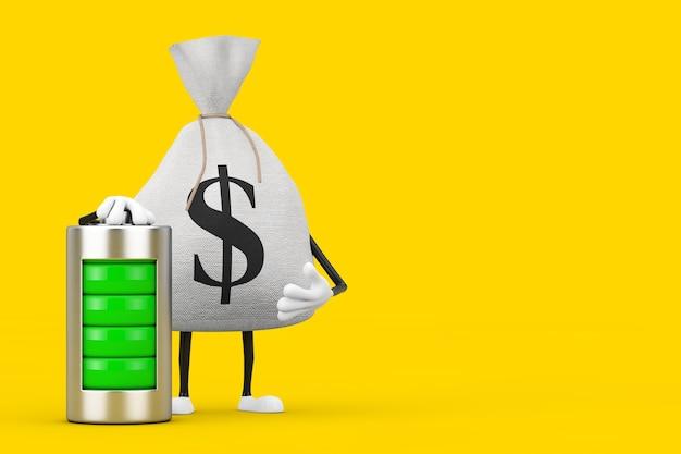 노란색 배경에 추상 충전 배터리가 있는 소박한 캔버스 리넨 돈 자루 또는 돈 가방과 달러 기호 캐릭터 마스코트를 묶었습니다. 3d 렌더링