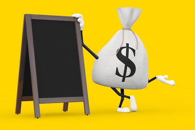 Связанный деревенский холст льняной мешок денег или мешок денег и талисман характера знака доллара с пустыми деревянными досками меню открытый дисплей на желтом фоне. 3d рендеринг
