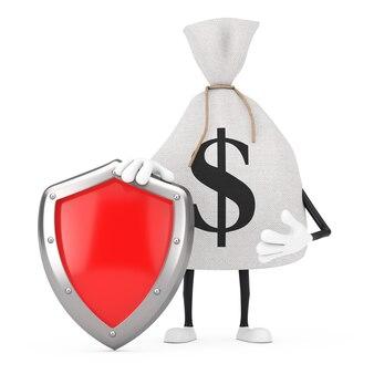 Связанный деревенский холст льняной мешок денег или мешок денег и талисман характера знака доллара с красным щитом защиты металла на белой предпосылке. 3d рендеринг