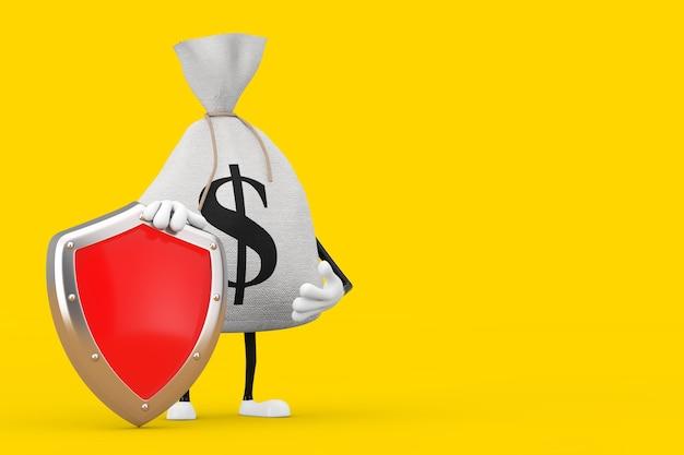 Связанный деревенский холст льняной мешок денег или мешок денег и талисман характера знака доллара с красным щитом защиты металла на желтом фоне. 3d рендеринг