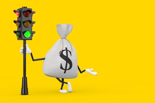 노란색 배경에 교통 신호등이 있는 소박한 캔버스 리넨 돈 자루 또는 돈 가방과 달러 기호 캐릭터 마스코트를 묶었습니다. 3d 렌더링