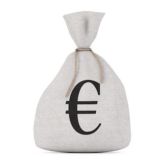 Связанный деревенский холст льняной мешок денег или мешок денег со знаком евро на белом фоне. 3d рендеринг
