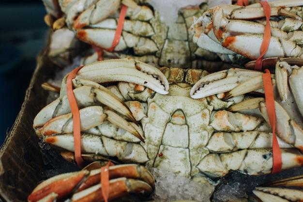 Завязанный морской краб на рыбном рынке
