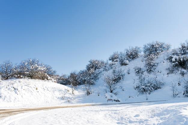 天山山脈、ウズベキスタンの山々の雪の斜面