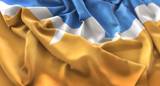 Bandiera del tierra del fuego ruffled splendidamente waving macro close-up shot