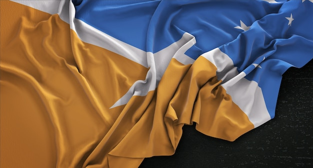 Tierra del fuego bandiera ruggioso su sfondo scuro 3d rendering