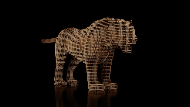 A tiger made of many cubes on a black uniform