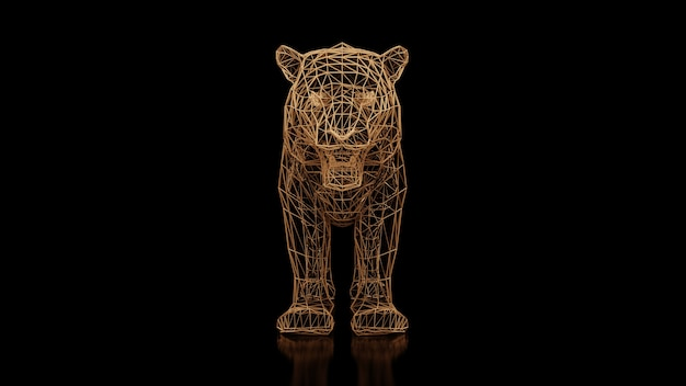 A tiger made of many polygons on a black uniform background. constructor of cubic elements. art of the wild animal world in modern performance. 3d rendering.