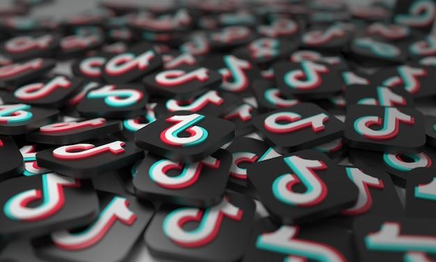 Tik tok сложены 3d изометрические логотипы фон социальная сеть сми символ