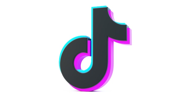 Tiktok app icon isolated on a white background, social media network for video