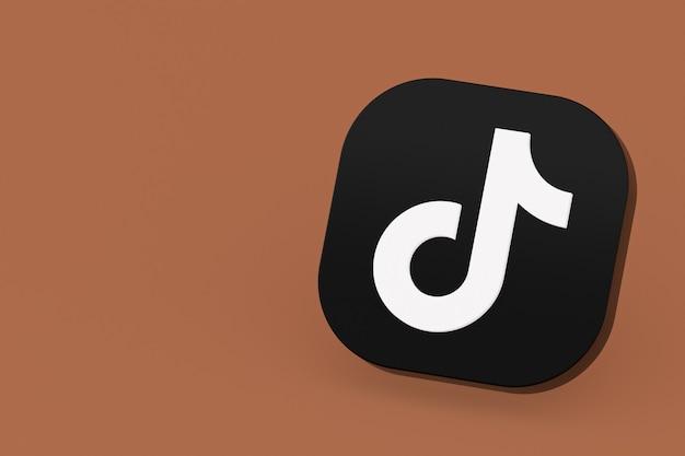 Tiktok application logo 3d rendering on brown background