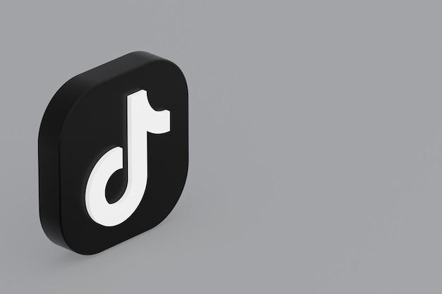Tiktok application logo 3d rendering on gray background