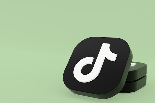 Tiktok application logo 3d rendering on green background