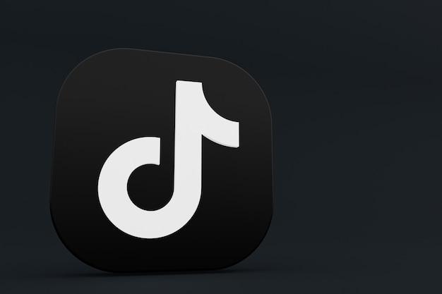 3d-рендеринг логотипа приложения tiktok на черном фоне