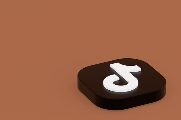 3d-рендеринг логотипа приложения tiktok на коричневом фоне Premium Фотографии