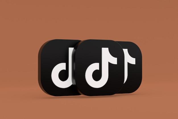 3d-рендеринг логотипа приложения tiktok на коричневом фоне