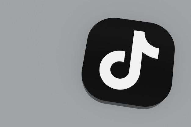 3d-рендеринг логотипа приложения tiktok на сером фоне