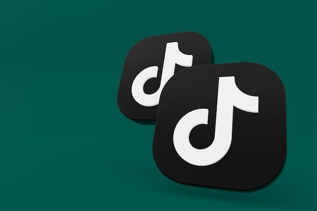 3d-рендеринг логотипа приложения tiktok на зеленом фоне