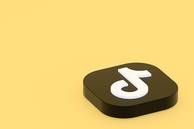 3d-рендеринг логотипа приложения tiktok на желтом фоне