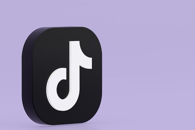 Tiktok application logo 3d rendering on purple background