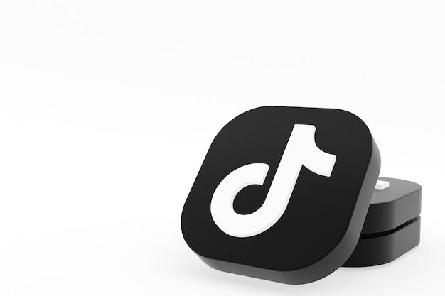 Tiktok application logo 3d rendering on white background