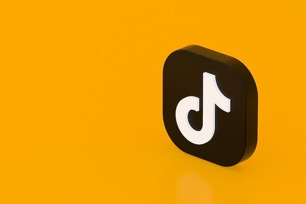 Tiktok application logo 3d rendering on yellow background