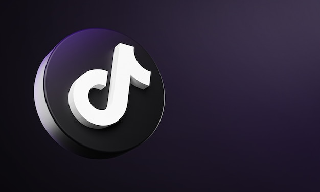 Tiktok circle button icon 3d with copy space