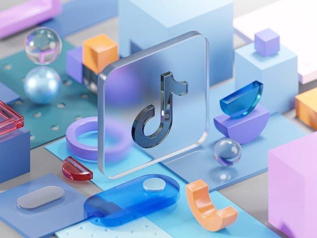 Tiktok glass geometry shapes abstract composition art 3d rendering