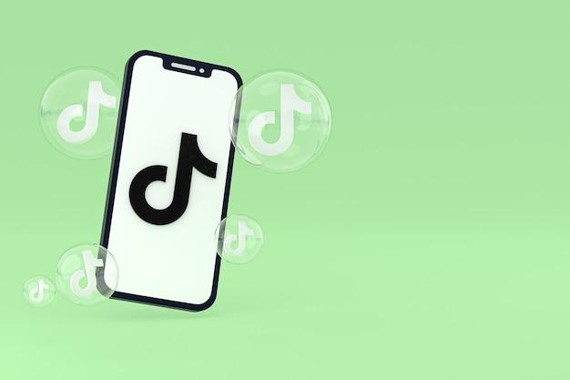 화면 휴대 전화 3d 렌더링에 tiktok 아이콘